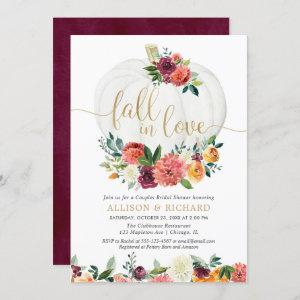 Fall in love burgundy gold couples bridal shower invitation starting at 2.55