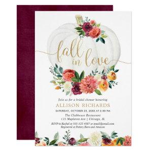 Fall in love burgundy gold floral white pumpkins invitation starting at 2.55