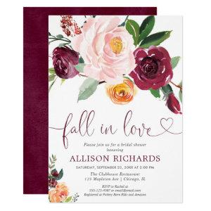 Fall in love fall floral burgundy bridal shower invitation starting at 2.25