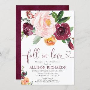 Fall in love fall floral burgundy bridal shower invitation starting at 2.55