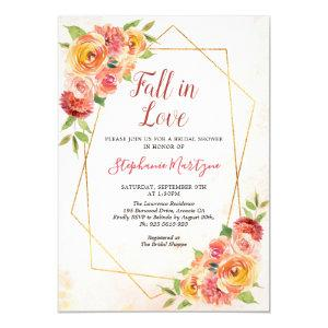 Fall In Love Fall Floral Geometric Bridal Shower Invitation starting at 2.40