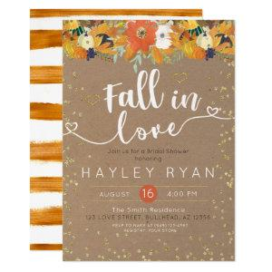 Fall in Love Floral Leaves Pumpkin Bridal shower Invitation starting at 2.55