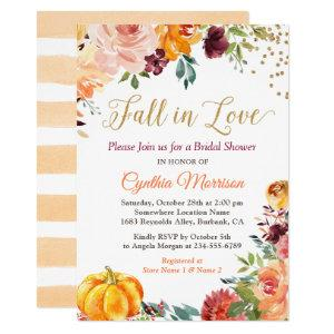 Fall in Love Floral Pumpkin Autumn Bridal Shower Invitation starting at 2.35