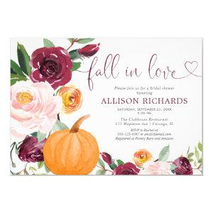 Fall in love pumpkin floral burgundy bridal shower invitation starting at 2.25