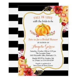 Fall in Love Pumpkin Floral Fall Bridal Shower Invitation starting at 2.30