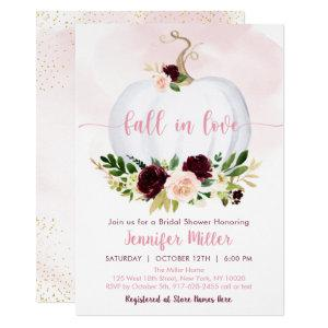 Fall In Love Pumpkin Pink Burgundy Bridal Shower Invitation starting at 2.70