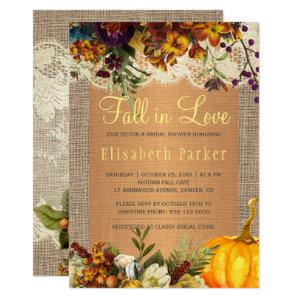 Fall in Love rustic floral burlap bridal shower Invitation starting at 2.45