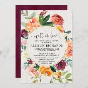Fall in love Rustic floral foliage bridal shower Invitation starting at 2.55