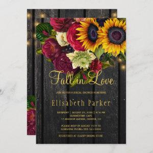 Fall in love rustic sunflower roses bridal shower invitation starting at 2.45