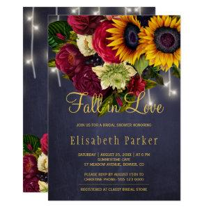 Fall in love rustic sunflower roses bridal shower invitation starting at 2.20