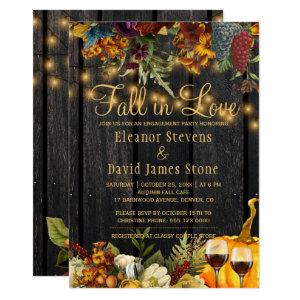 Fall in Love rustic wood floral engagement party Invitation starting at 2.45