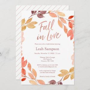 Fall in Love watercolor leaves bridal shower Invitation starting at 2.66