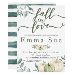 Fall In Love Watercolor Pumpkins Bridal Shower Invitation starting at 2.45