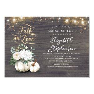 Fall in Love White Pumpkin Rustic Bridal Shower Invitation starting at 2.15