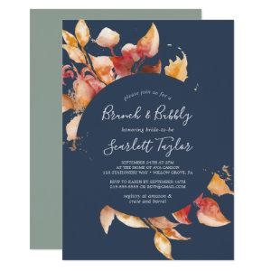 Fall Leaves | Navy Blue & Burgundy Brunch & Bubbly Invitation starting at 2.51