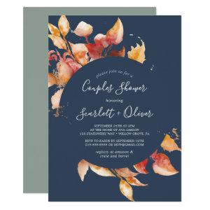 Fall Leaves | Navy Blue & Burgundy Couples Shower Invitation starting at 2.51