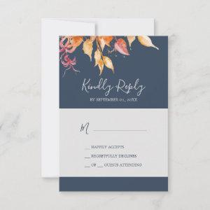 Fall Leaves | Navy Blue Simple RSVP Card starting at 2.01