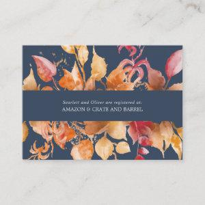 Fall Leaves | Navy Blue Wedding Gift Registry Enclosure Card starting at 0.70