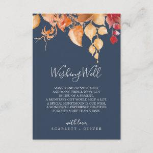 Fall Leaves | Navy Blue Wedding Wishing Well Card starting at 1.91