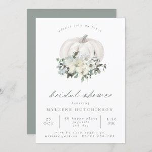 Fall White Pumpkin and Flowers Bridal Shower Invitation starting at 2.40