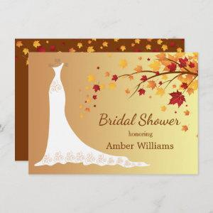 Falling autumn leaves, wedding gown Bridal Shower Invitation starting at 2.26