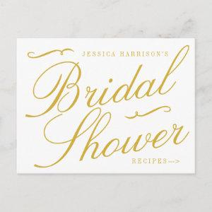 Fancy Gold & White Bridal Shower Recipe Cards starting at 1.70