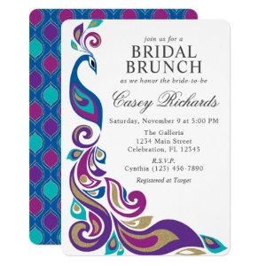 Fancy Peacock Purple and Teal Bridal Shower Invitation starting at 2.75