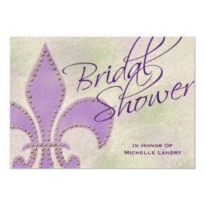 Fancy Script Purple Fleur de Lis Bridal Shower Invitation starting at 2.66