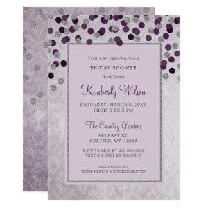 FAUX Glitter Silver Purple confetti Bridal Shower Invitation starting at 2.50