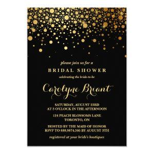 Faux Gold Foil Confetti | Black Bridal Shower Invitation starting at 2.40