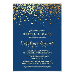 Faux Gold Foil Confetti | Navy Bridal Shower Invitation starting at 2.40