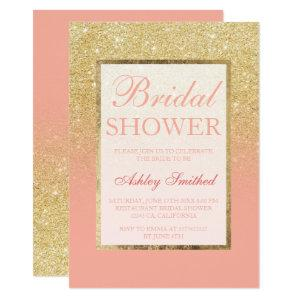 Faux gold glitter blush coral chic Bridal shower Invitation starting at 2.40