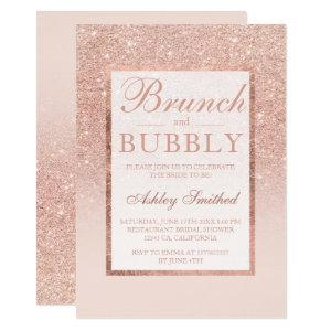 Faux rose gold glitter brunch bubbly bridal shower invitation starting at 2.40