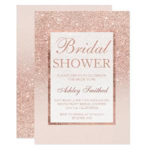 Faux rose gold glitter elegant chic Bridal shower Invitation starting at 2.51
