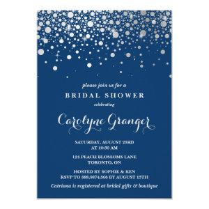 Faux Silver Foil Confetti | Navy Bridal Shower Invitation starting at 2.40