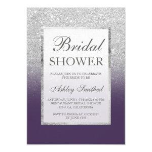 Faux silver glitter purple elegant Bridal shower Invitation starting at 2.40