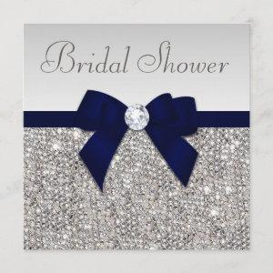 Faux Silver Sequins Navy Blue Bow Bridal Shower Invitation starting at 2.51