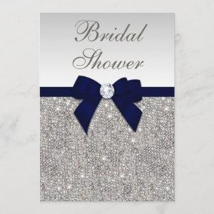 Faux Silver Sequins Navy Bow Bridal Shower Invitation starting at 2.66
