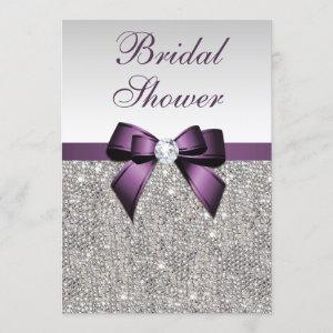 Faux Silver Sequins Purple Bow Bridal Shower starting at 2.55