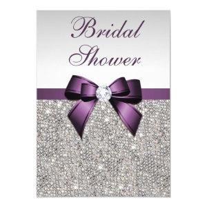 Faux Silver Sequins Purple Bow Bridal Shower Invitation starting at 2.55