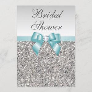 Faux Silver Sequins Teal Blue Bridal Shower Invitation starting at 2.55