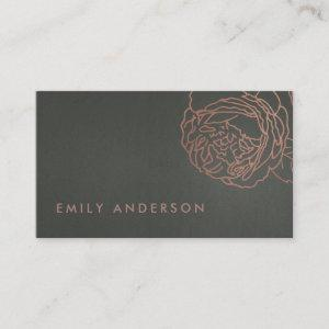 FAUX SILVER STEEL GREY BLUSH PINK ROSE GOLD FLORAL BUSINESS CARD starting at 24.95