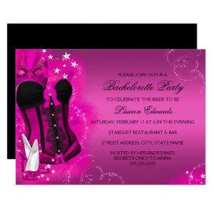 Feather Corset Pink Bachelorette Party Invite starting at 2.55