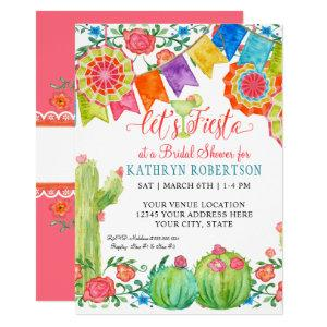 Fiesta Margarita Floral Cactus Art Bridal Shower Invitation starting at 2.25