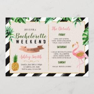 Flamingo bachelorette with Itinerary invitation starting at 2.50