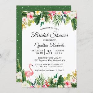 Flamingo Tropical Palm Leaves Floral Bridal Shower Invitation starting at 2.30