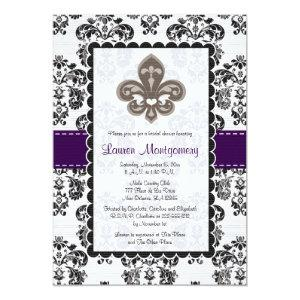 Fleur de Lis Bridal Shower Invitations Plum Black starting at 2.66