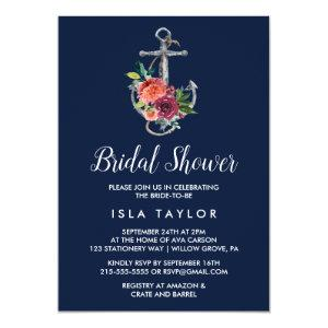Floral Anchor | Navy Autumn Bridal Shower Invitation starting at 2.51