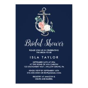 Floral Anchor | Navy Summer Bridal Shower Invitation starting at 2.51