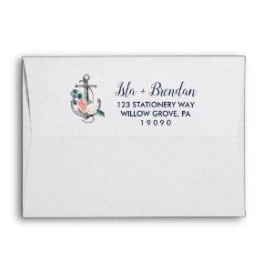 Floral Anchor | Summer Wedding Invitation Envelope starting at 0.85